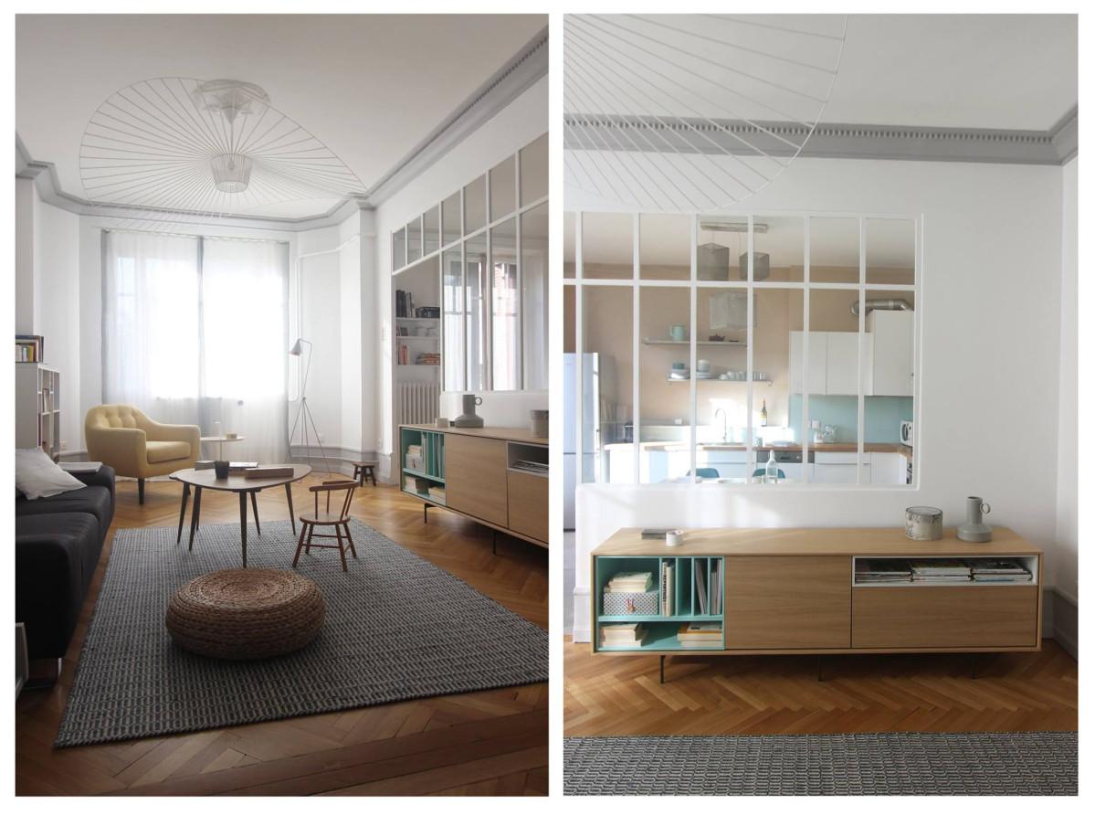 Avant Apres Ouverture Cuisine Sur Salon Et Verriere Appartement