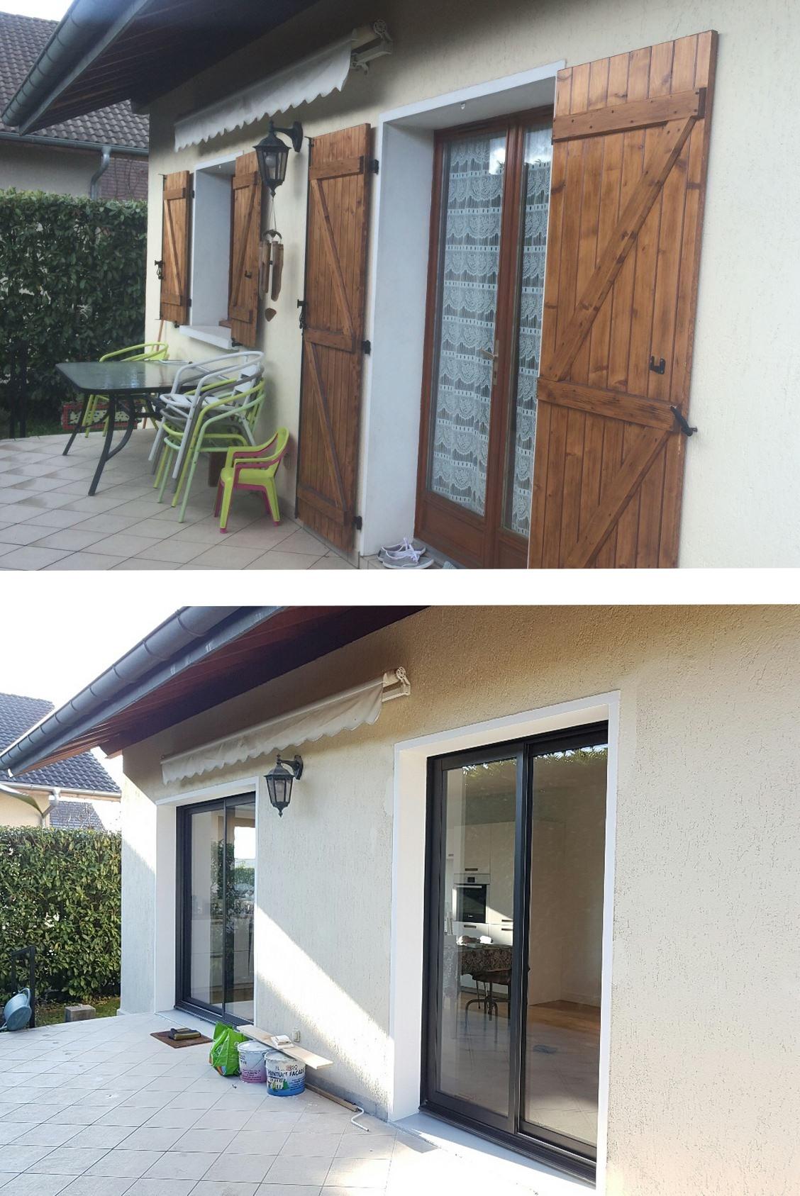 Avant / Après création de fenêtre et modification porte fenêtre dans une maion à METZ TESSY